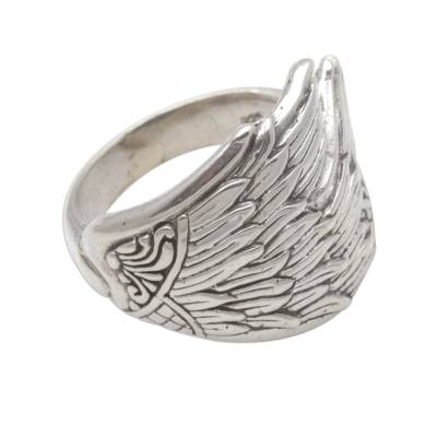 Sterling silver band ring, 'Wing Feathers' - Sterling Silver Wing Band Ring from Bali