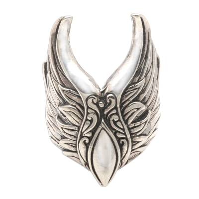 Sterling silver cocktail ring, 'Wings of Elegance' - Wing-Themed Sterling Silver Cocktail Ring from Bali