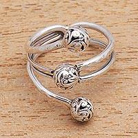 Sterling silver cocktail ring, 'Swirling Seeds - Swirl Pattern Sterling Silver Cocktail Ring from Java