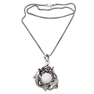 Garnet and Bone Koi Fish Pendant Necklace from Java
