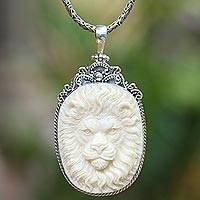 Sterling silver and bone pendant necklace, 'Face of Bravery' - Sterling Silver and Bone Lion Pendant Necklace from Java