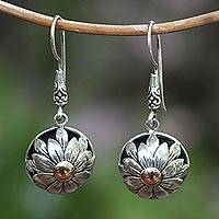 Gold accented sterling silver dangle earrings, 'Flower Domes' - Floral Gold Accented Sterling Silver Dangle Earrings