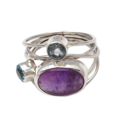 Amethyst and Blue Topaz Cocktail Ring from Bali