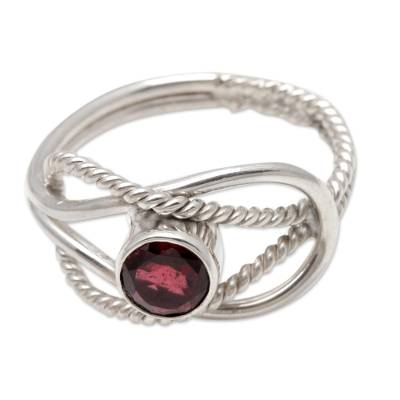 Wire Pattern Garnet Solitaire Ring from Bali