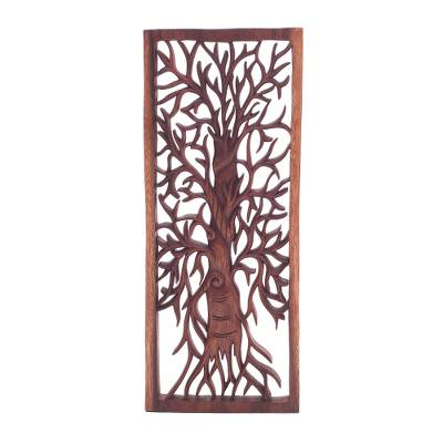 Wood relief panel, 'Ancient Tree' - Intricate Tree Suar Wood Relief Panel from Bali