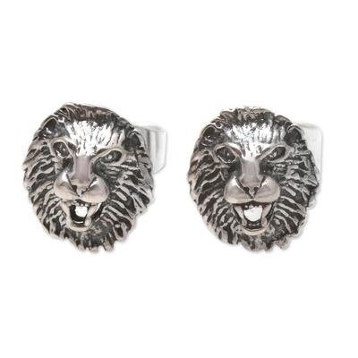Sterling Silver Lion Stud Earrings from Bali