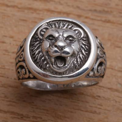 Mens sterling silver ring, Lion Strength