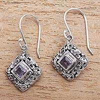 Amethyst dangle earrings, 'Floral Block' - Amethyst Dangle Earrings with Floral Patterns from Bali