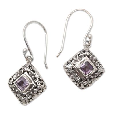 Amethyst dangle earrings, 'Floral Block' - Amethyst Dangle Earrings with Floral Patterns from Bali