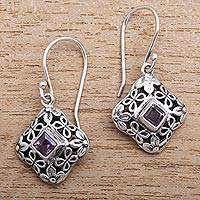 Amethyst dangle earrings, 'Petal Squares' - Petal Motif Faceted Amethyst Dangle Earrings from Bali