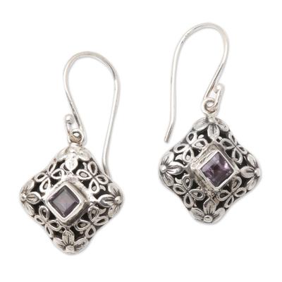 Amethyst dangle earrings, 'Petal Squares' - Petal Motif Faceted Amethyst Dangle Earrings from Bali