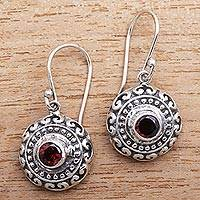 Garnet dangle earrings, 'Shield Charm' - Round Garnet Dangle Earrings Crafted in Bali