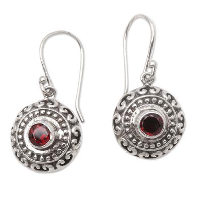 Garnet dangle earrings, 'Shield Charm' - Round Garnet Dangle Earrings Crafted in Bali