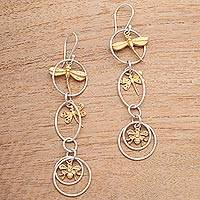 Gold accented sterling silver dangle earrings, 'Golden Bugs'