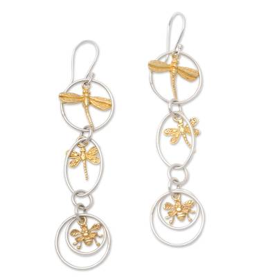 Gold accented sterling silver dangle earrings, 'Golden Bugs' - Bug-Themed Gold Accented Sterling Silver Dangle Earrings