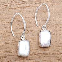 Cultured pearl dangle earrings, 'Snowy Rectangles'