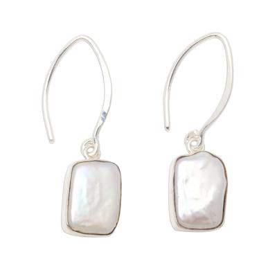 Cultured pearl dangle earrings, 'Snowy Rectangles' - Rectangular Cultured Pearl Dangle Earrings from Bali