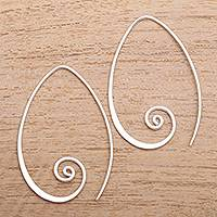 Sterling silver half-hoop earrings, 'Spiral Curls' - Curling Sterling Silver Half-Hoop Earrings from Bali
