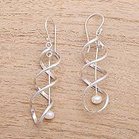 Cultured pearl dangle earrings, 'Never-Ending Spiral' - Spiral Cultured Pearl Dangle Earrings from Bali