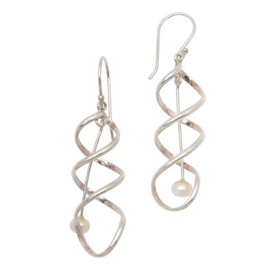 Cultured pearl dangle earrings, 'Never-Ending Spiral' - Spiral Cultured Pearl Dangle Earrings from Bali