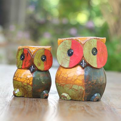 Wood figurines, 'Colorful Owls' (pair) - Colorful Wood Owl Figurines from Bali (Pair)
