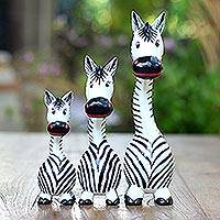 Wood statuettes, 'Peering Zebras' (set of 3) - Handmade Wood Zebra Statuettes from Bali (Set of 3)