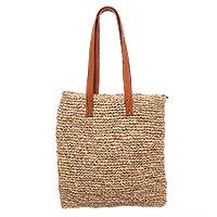 Leather accented natural fiber tote, 'Natural Rectangle' - Leather Accented Natural Fiber Tote from Java
