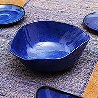 Ceramic serving bowl, 'Wavy Blue' - Wavy Blue Ceramic Bowl Handcrafted in Bali
