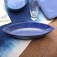 Ceramic serving bowl, 'Cobalt Cuisine' - Long Blue Ceramic Serving Bowl Crafted in Bali