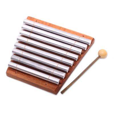 Teakwood xylophone, 'Melodious Voice' - Teakwood and Aluminum Xylophone Crafted in Bali