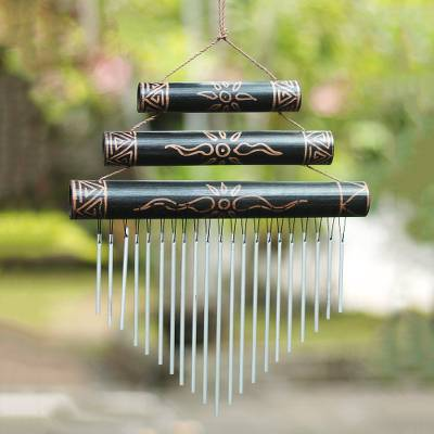 Bamboo wind chimes, 'Breezy Sound' - Sun Motif Bamboo Wind Chimes in Black from Bali