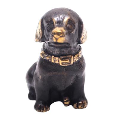 Antiqued Bronze Dog Figurine Crafted in Bali