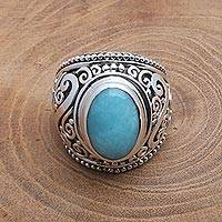 Amazonite cocktail ring, 'Misty Temple'