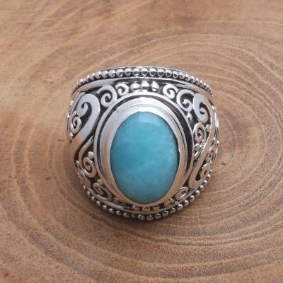 Amazonite cocktail ring, 'Misty Temple' - Oval Amazonite Sterling Silver Scroll Motif Cocktail Ring