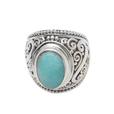 Oval Amazonite Sterling Silver Scroll Motif Cocktail Ring