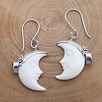 Cow bone and citrine dangle earrings, 'Sleeping Moon in Yellow' - Cow Bone Moon and Citrine Sterling Silver Dangle Earrings