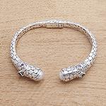 Circle Pattern Multi-Gemstone Cuff Bracelet from Bali, 'Ocean Kingdom'