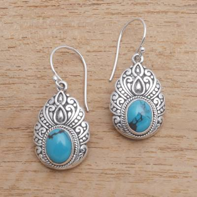 Reconstituted turquoise dangle earrings, 'Princess Heirloom' - Oval Reconstituted Turquoise Dangle Earrings from Bali