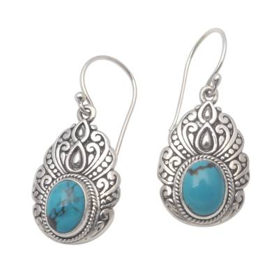 Oval Reconstituted Turquoise Dangle Earrings from Bali