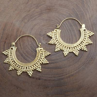 Gold plated hoop earrings, 'Sunrays' - 18k Gold Plated Balinese Hoop Earrings