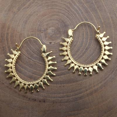 Gold plated hoop earrings, 'Radiant Sparkle' - High Polish 18k Gold Plated Hoop Earrings