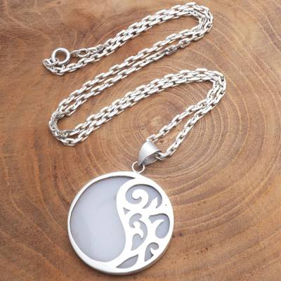 Sterling silver and resin pendant necklace, 'Elegant Yin and Yang' - Sterling Silver and Resin Pendant Necklace from Bali