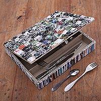 Recycled paper cutlery box, 'Temple Spires' - Handmade Recycled Paper Cutlery Box from Java