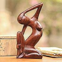 Wood sculpture, 'Sensuous Lady' - Hand-Carved Suar Wood Female Form Sculpture from Bali