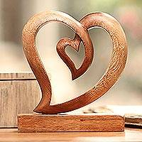 Wood sculpture, 'Little Heart' - Heart-Shaped Suar Wood Sculpture by Balinese Artisans