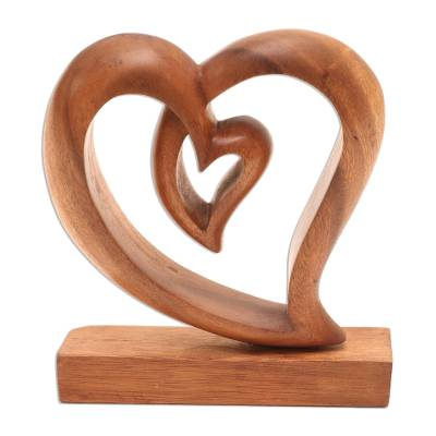 Wood sculpture, 'Little Heart' - Heart-Shaped Suar Wood Sculpture by Balinese Artisans