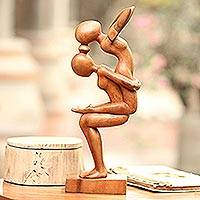 Wood sculpture, 'Yoga Women'