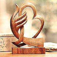 Wood sculpture, 'Warm Love' - Heart-Themed Suar Wood Sculpture from Bali