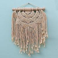 Cotton wall hanging, 'Tegalalang Sunrise' - Hand-Knotted Cotton Wall Hanging with Fringe from Bali