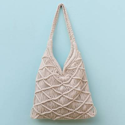 Cotton shoulder bag, 'Beautiful Diamonds' - Diamond-Pattern Hand-Knotted Cotton Shoulder Bag from Bali